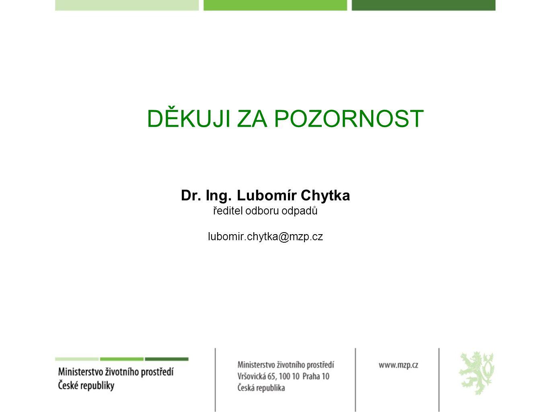 DĚKUJI ZA POZORNOST Dr. Ing. Lubomír Chytka ředitel odboru odpadů
