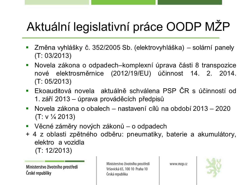 Aktuální legislativní práce OODP MŽP