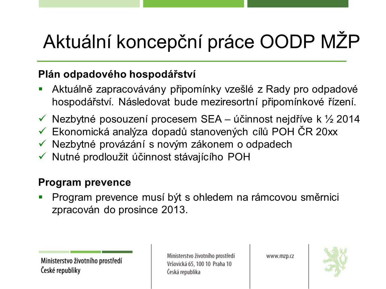 Aktuální koncepční práce OODP MŽP