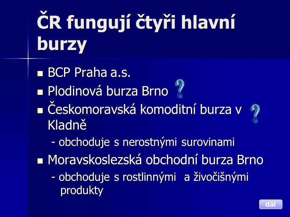 ČR fungují čtyři hlavní burzy