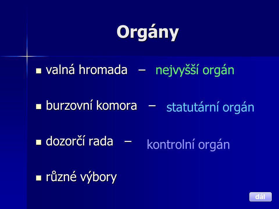 Orgány valná hromada – nejvyšší orgán burzovní komora – dozorčí rada –