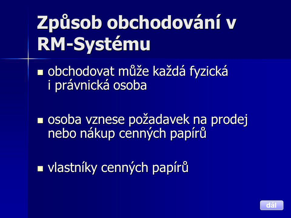 Způsob obchodování v RM-Systému