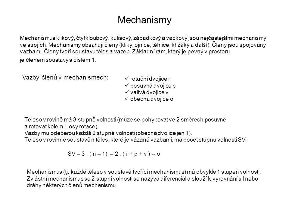 Mechanismy Vazby členů v mechanismech: