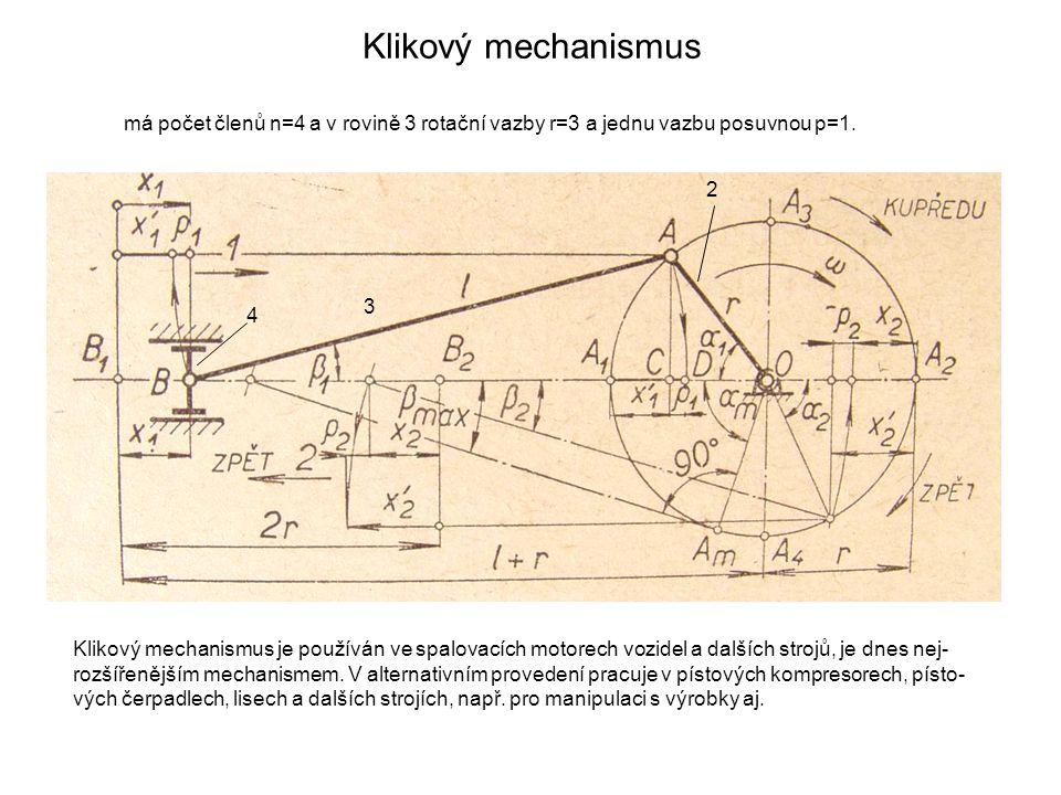 Klikový mechanismus má počet členů n=4 a v rovině 3 rotační vazby r=3 a jednu vazbu posuvnou p=1. 2.