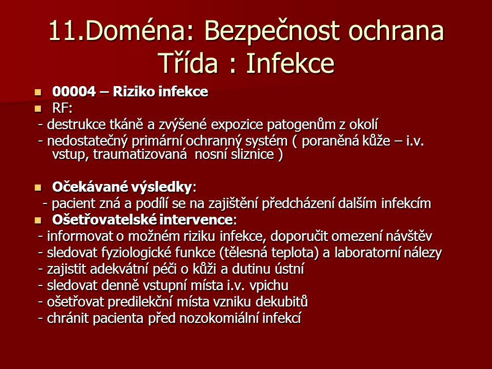 11.Doména: Bezpečnost ochrana Třída : Infekce