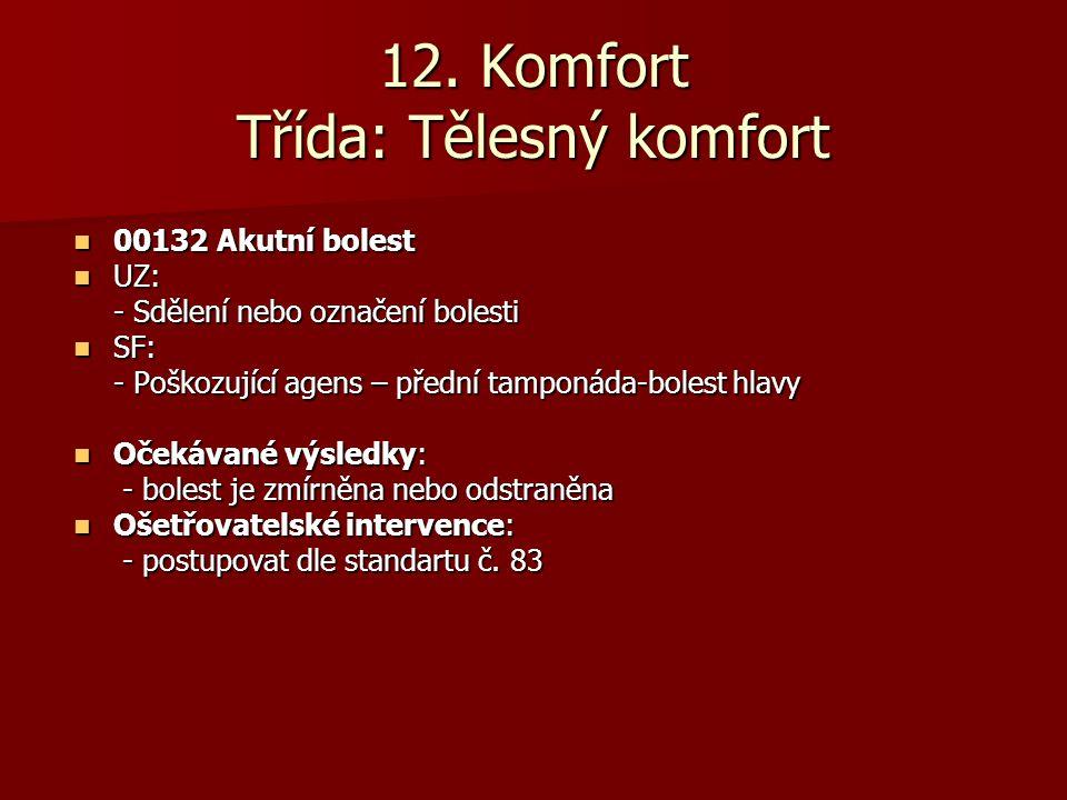 12. Komfort Třída: Tělesný komfort