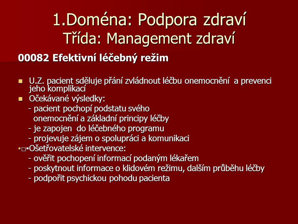 1.Doména: Podpora zdraví Třída: Management zdraví
