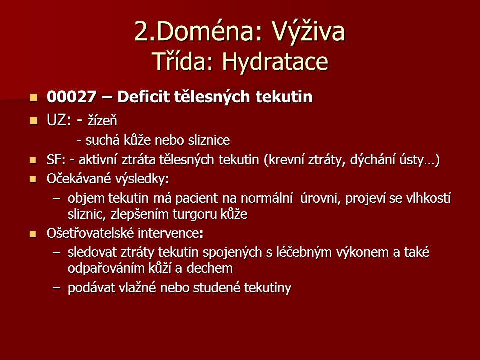2.Doména: Výživa Třída: Hydratace