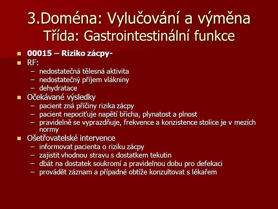 3.Doména: Vylučování a výměna Třída: Gastrointestinální funkce