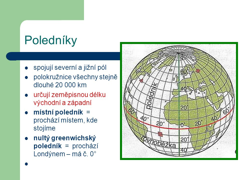 Poledníky spojují severní a jižní pól