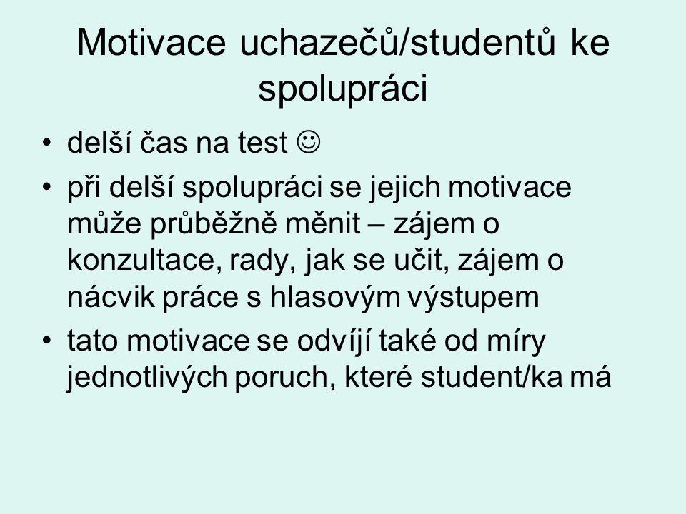 Motivace uchazečů/studentů ke spolupráci