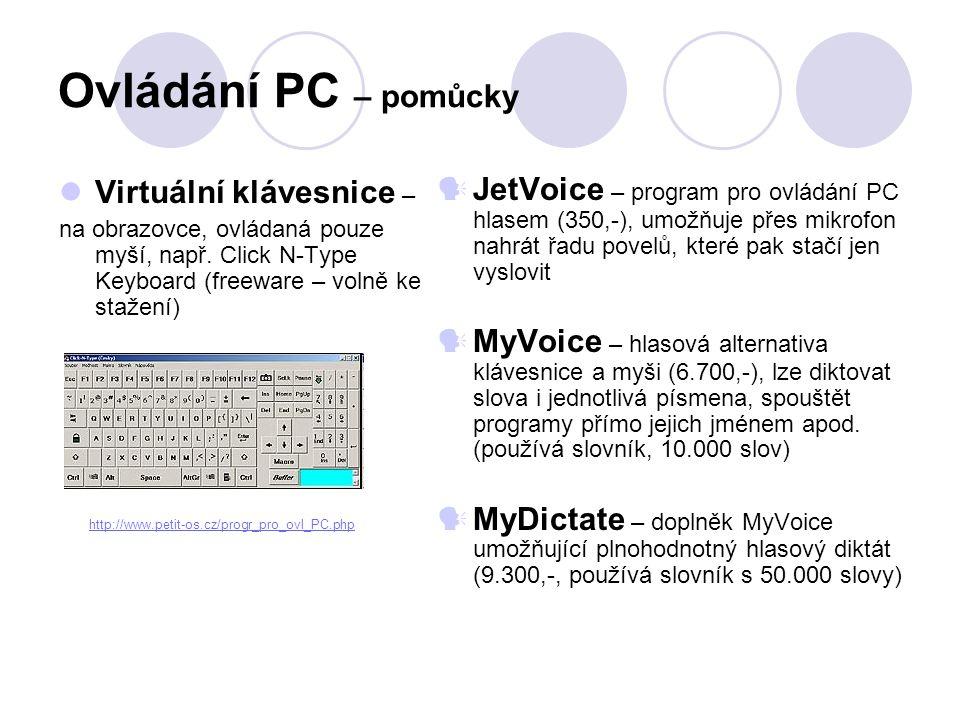 Ovládání PC – pomůcky Virtuální klávesnice –