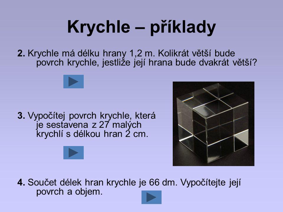 Krychle – příklady 2. Krychle má délku hrany 1,2 m. Kolikrát větší bude povrch krychle, jestliže její hrana bude dvakrát větší