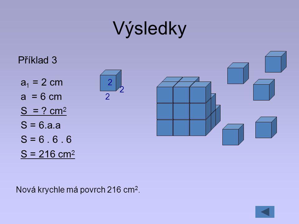 Výsledky Příklad 3 a1 = 2 cm a = 6 cm S = cm2 S = 6.a.a