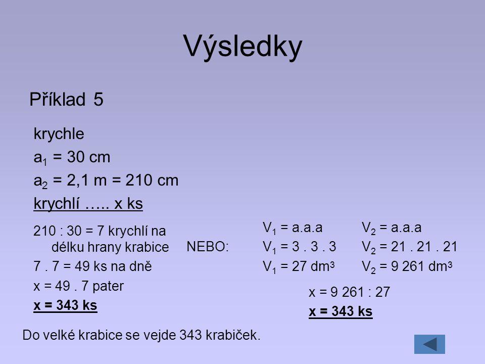Výsledky Příklad 5 krychle a1 = 30 cm a2 = 2,1 m = 210 cm