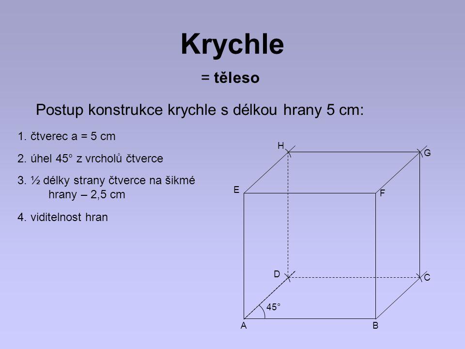 Krychle = těleso Postup konstrukce krychle s délkou hrany 5 cm:
