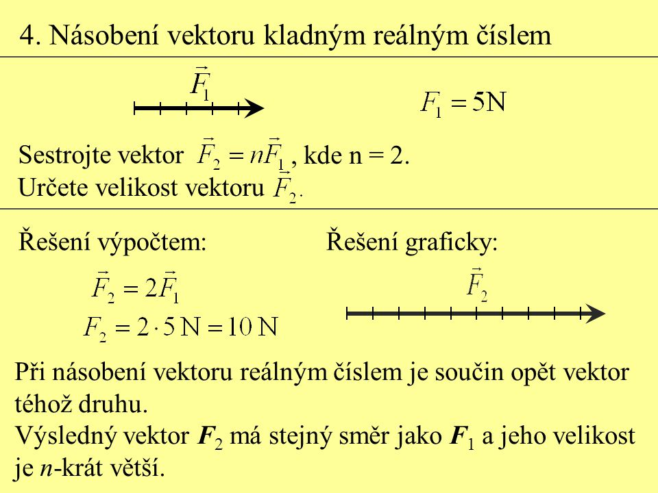 4. Násobení vektoru kladným reálným číslem