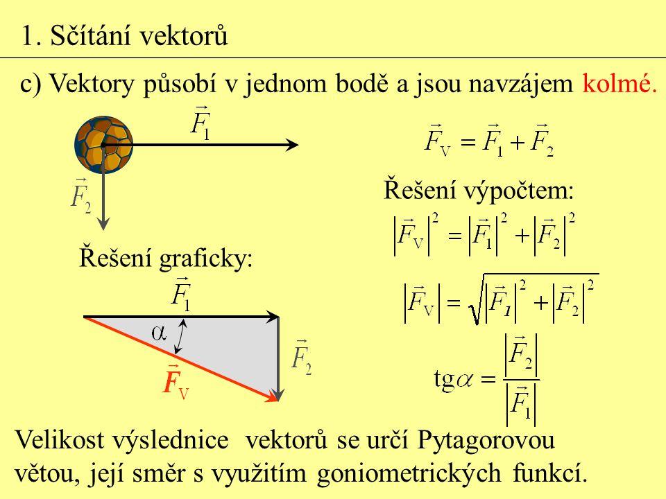 1. Sčítání vektorů c) Vektory působí v jednom bodě a jsou navzájem kolmé. Řešení výpočtem: Řešení graficky: