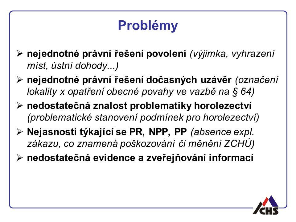 Problémy nejednotné právní řešení povolení (výjimka, vyhrazení míst, ústní dohody...)