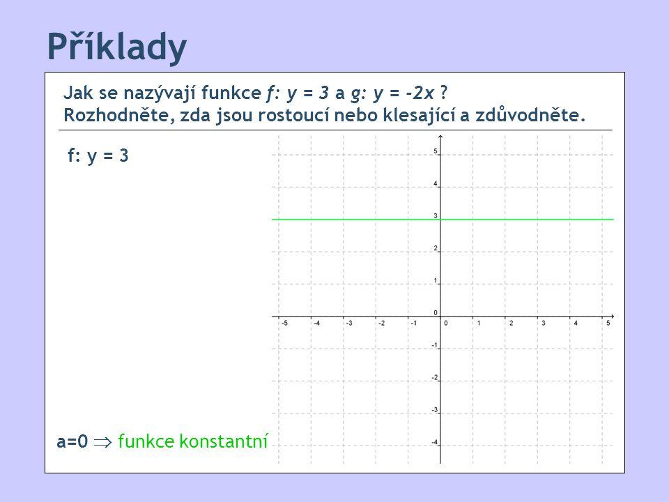 Příklady Jak se nazývají funkce f: y = 3 a g: y = -2x Rozhodněte, zda jsou rostoucí nebo klesající a zdůvodněte.