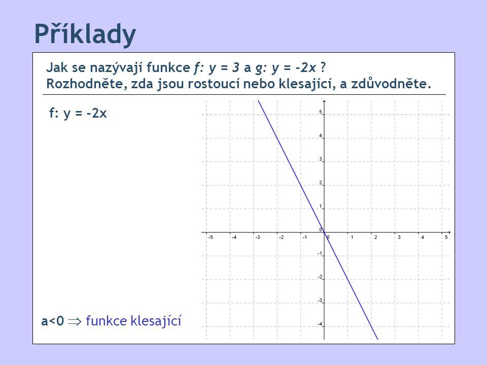 Příklady Jak se nazývají funkce f: y = 3 a g: y = -2x Rozhodněte, zda jsou rostoucí nebo klesající, a zdůvodněte.