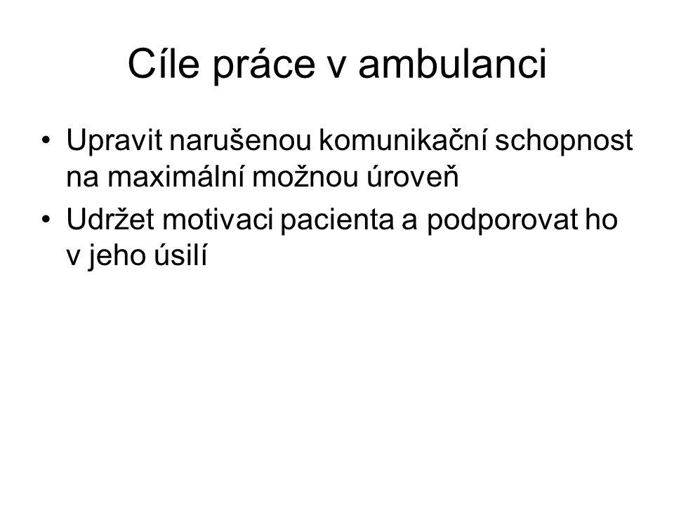 Cíle práce v ambulanci Upravit narušenou komunikační schopnost na maximální možnou úroveň.