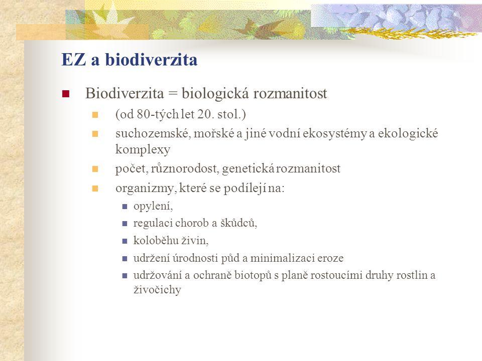 EZ a biodiverzita Biodiverzita = biologická rozmanitost