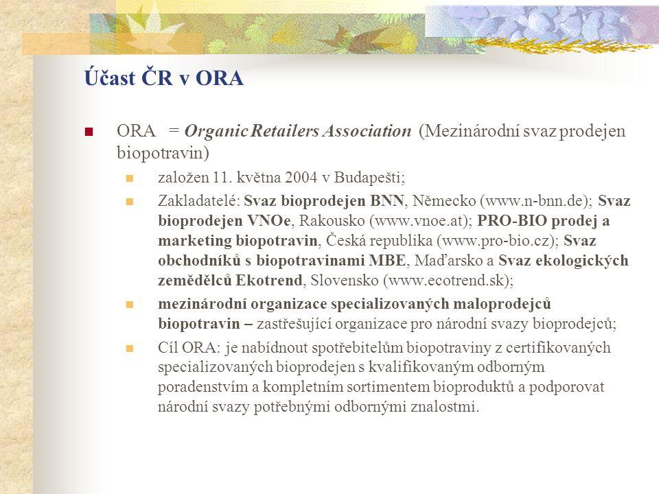 Účast ČR v ORA ORA = Organic Retailers Association (Mezinárodní svaz prodejen biopotravin) založen 11. května 2004 v Budapešti;