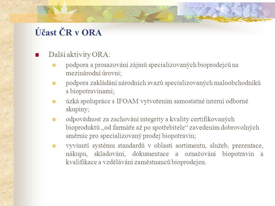 Účast ČR v ORA Další aktivity ORA: