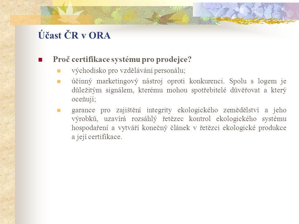Účast ČR v ORA Proč certifikace systému pro prodejce