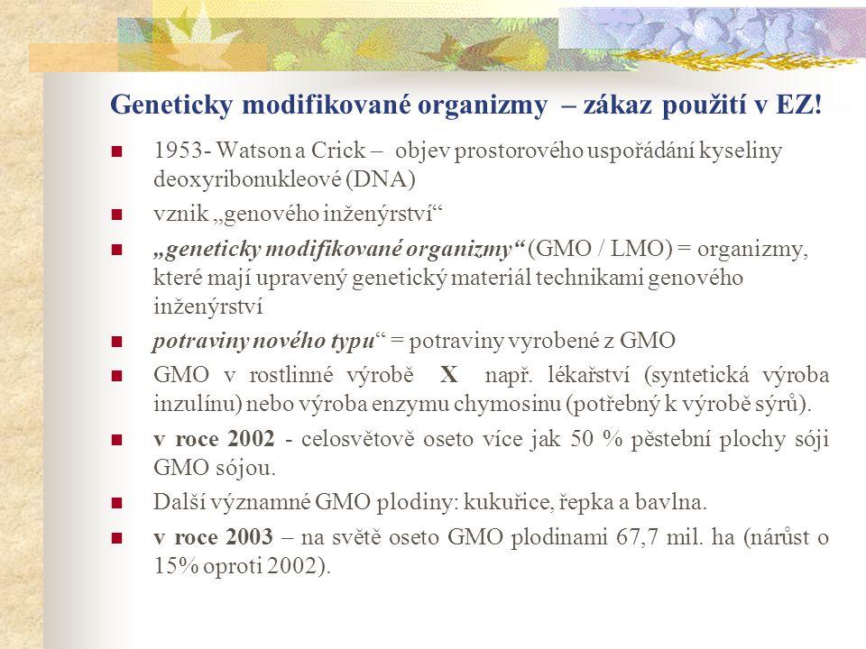 Geneticky modifikované organizmy – zákaz použití v EZ!