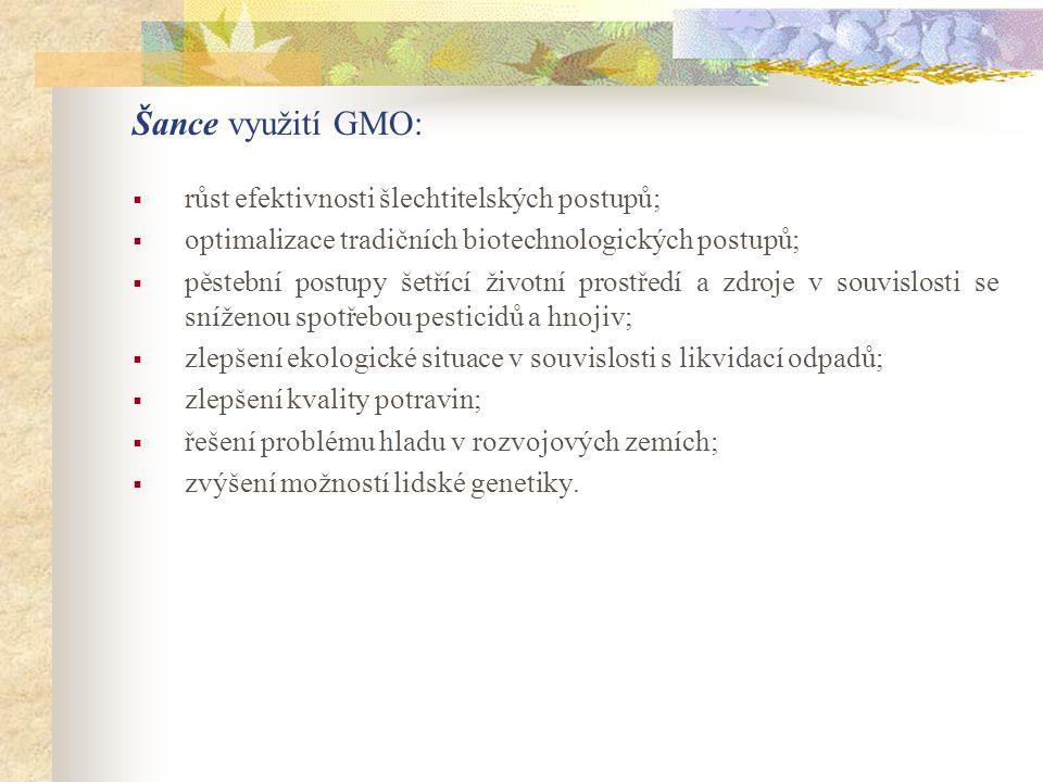 Šance využití GMO: růst efektivnosti šlechtitelských postupů;