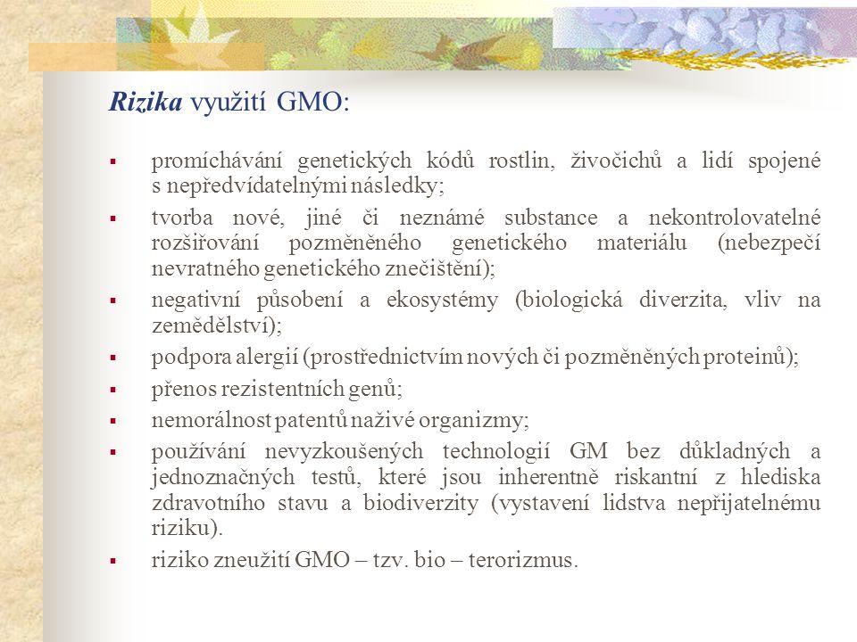 Rizika využití GMO: promíchávání genetických kódů rostlin, živočichů a lidí spojené s nepředvídatelnými následky;