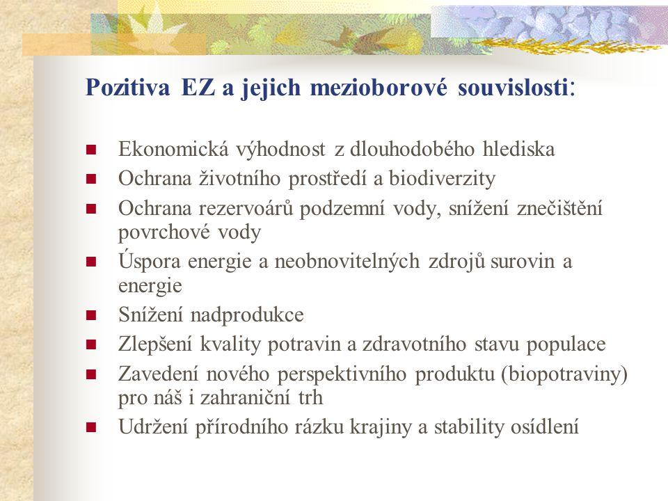 Pozitiva EZ a jejich mezioborové souvislosti: