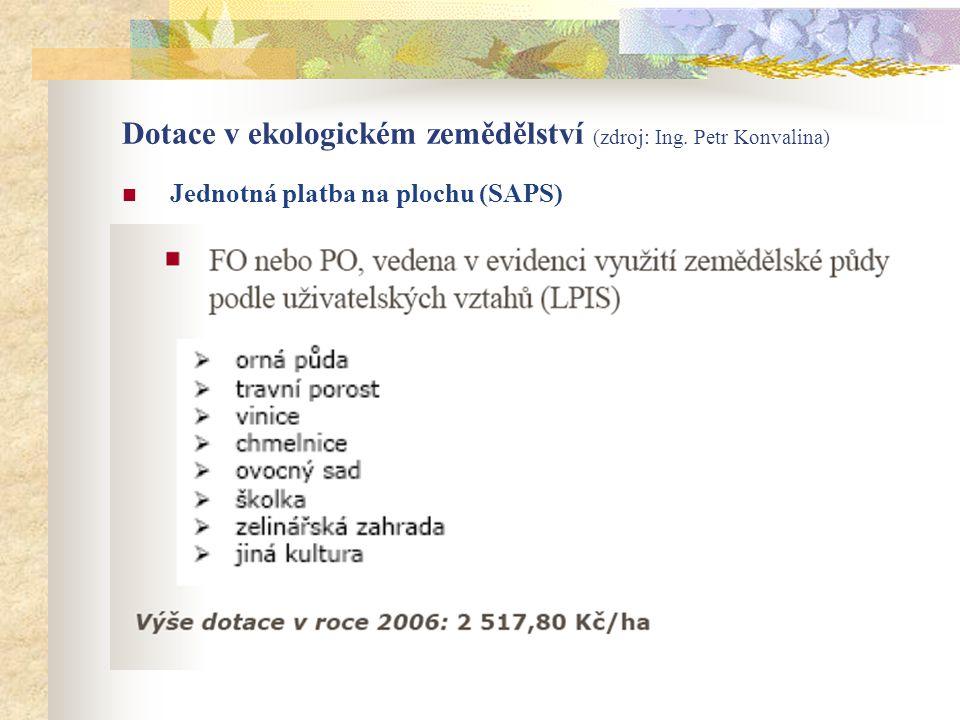 Dotace v ekologickém zemědělství (zdroj: Ing. Petr Konvalina)