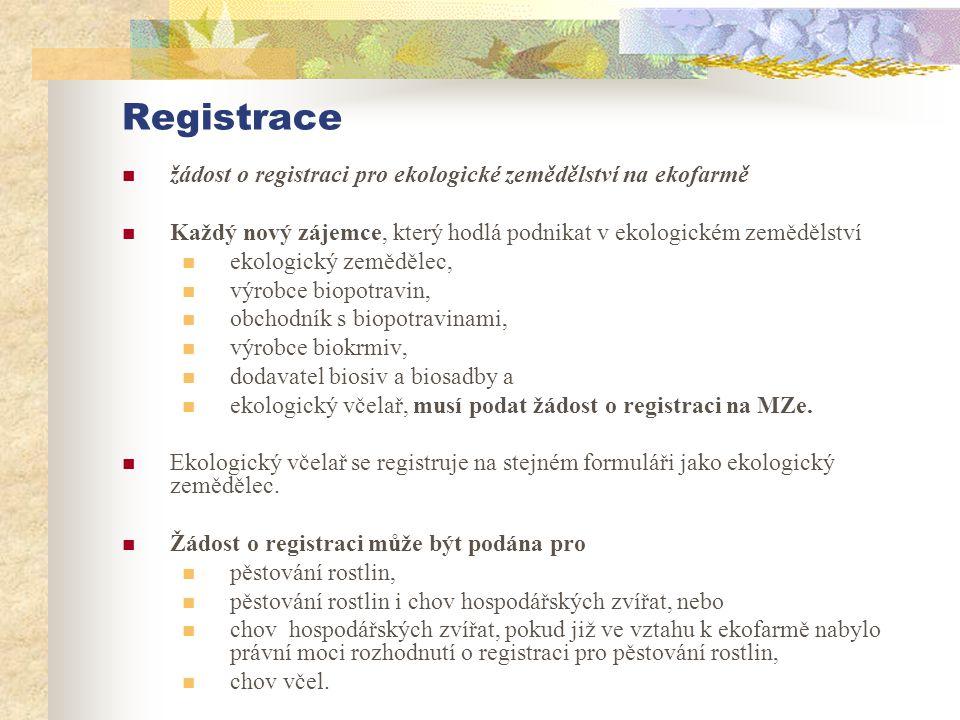 Registrace žádost o registraci pro ekologické zemědělství na ekofarmě