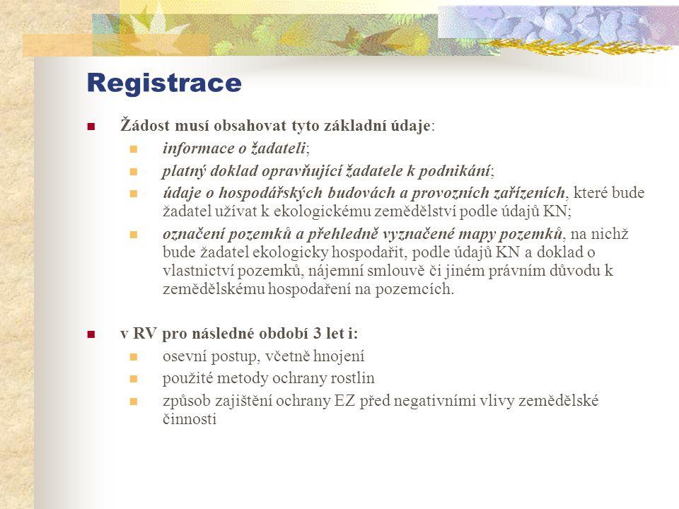 Registrace Žádost musí obsahovat tyto základní údaje: