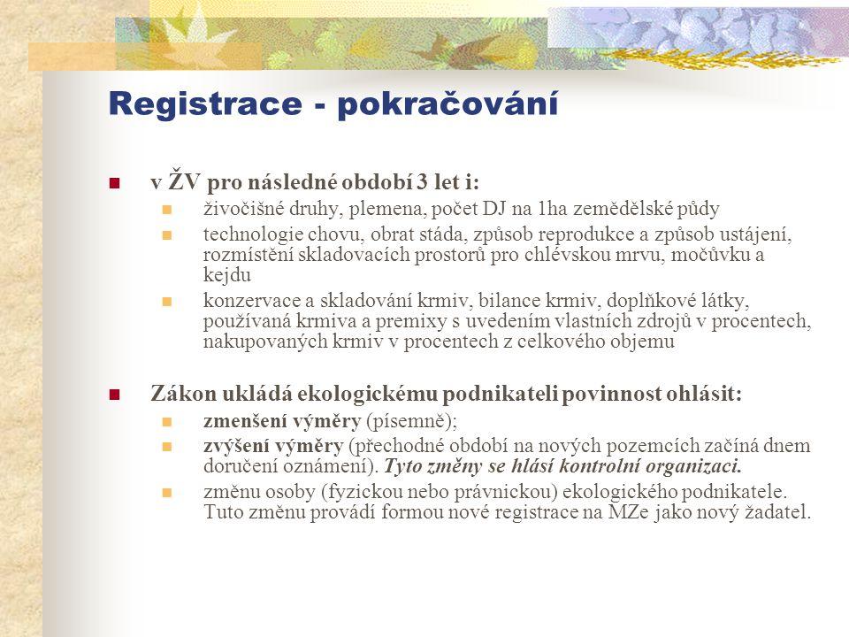 Registrace - pokračování