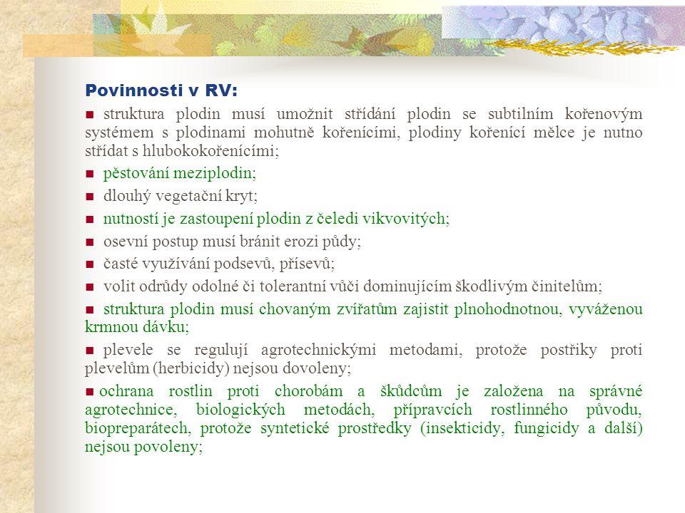 Povinnosti v RV: