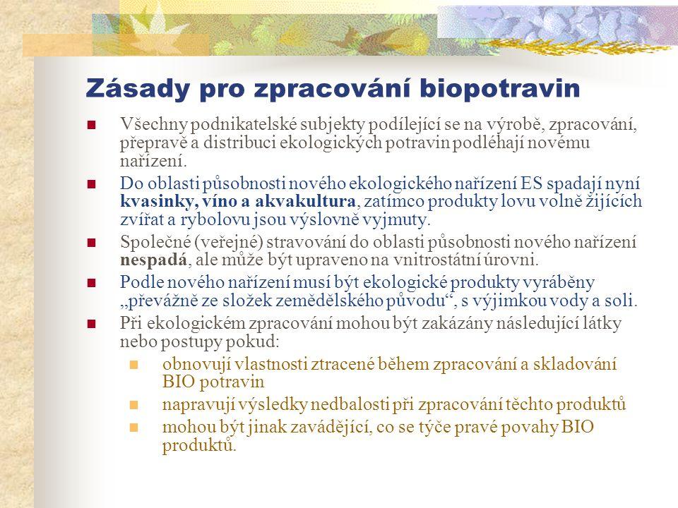 Zásady pro zpracování biopotravin