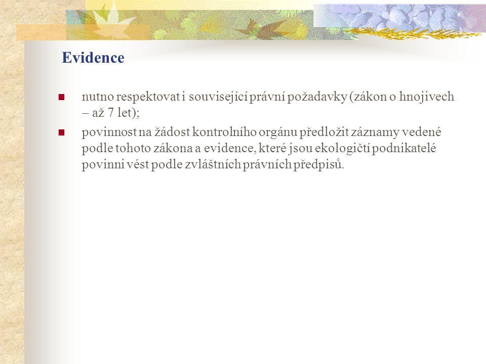 Evidence nutno respektovat i související právní požadavky (zákon o hnojivech – až 7 let);