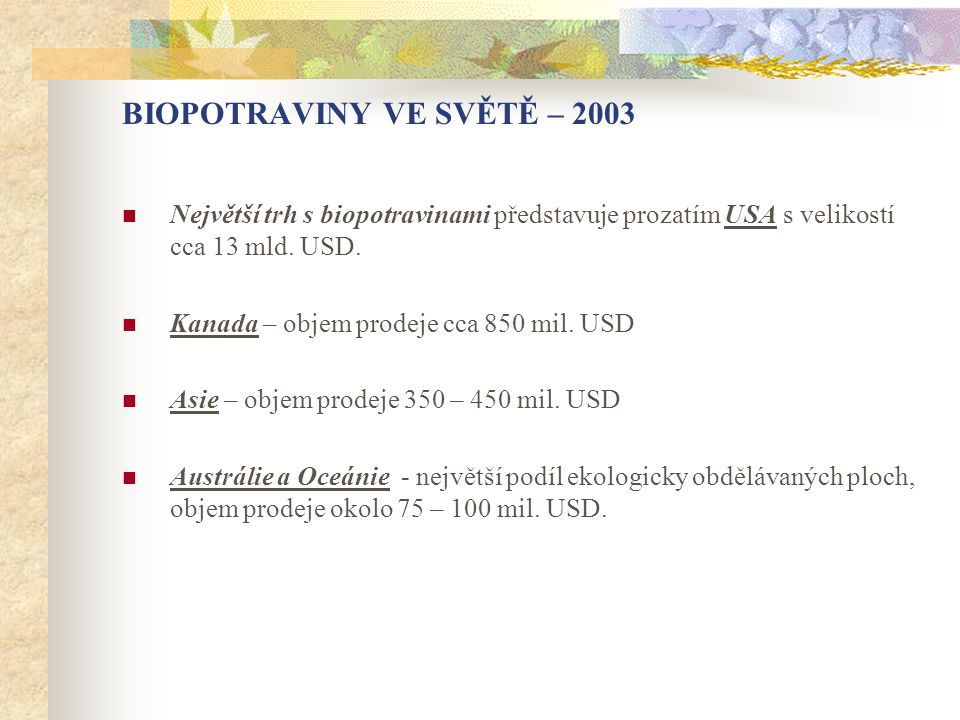 BIOPOTRAVINY VE SVĚTĚ – 2003