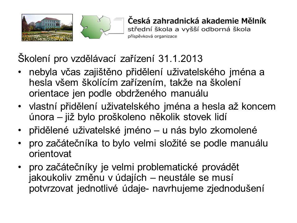 Školení pro vzdělávací zařízení 31.1.2013