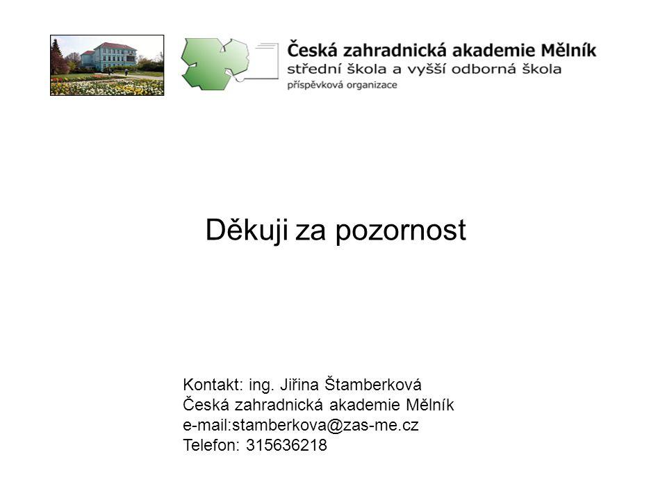 Děkuji za pozornost Kontakt: ing. Jiřina Štamberková