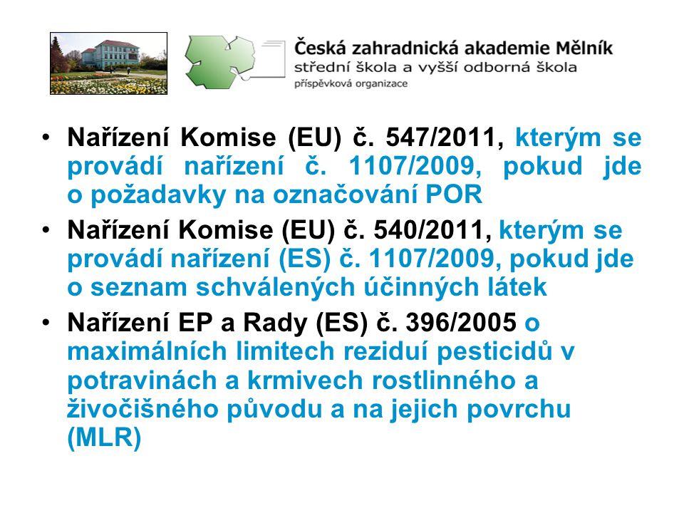 Nařízení Komise (EU) č. 547/2011, kterým se provádí nařízení č