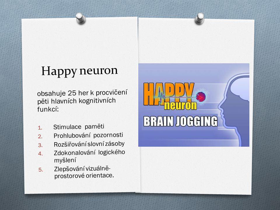 Happy neuron obsahuje 25 her k procvičení pěti hlavních kognitivních funkcí: Stimulace paměti. Prohlubování pozornosti.