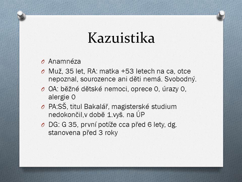 Kazuistika Anamnéza. Muž, 35 let, RA: matka +53 letech na ca, otce nepoznal, sourozence ani děti nemá. Svobodný.