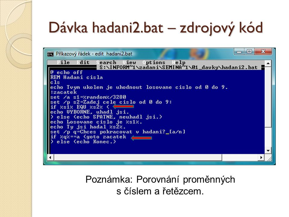 Dávka hadani2.bat – zdrojový kód