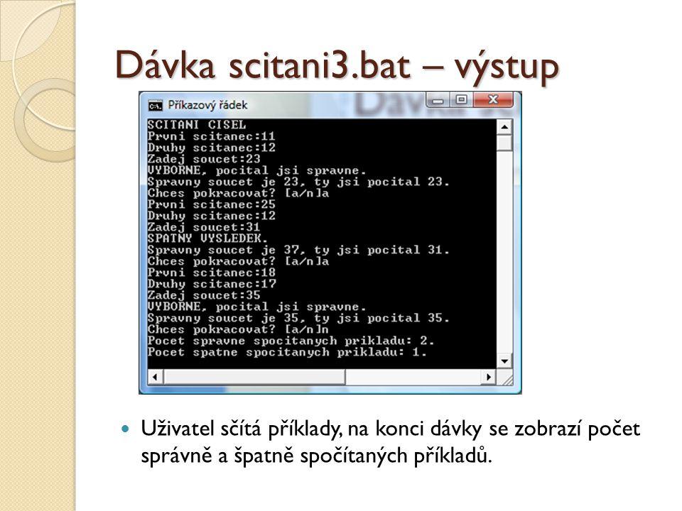 Dávka scitani3.bat – výstup