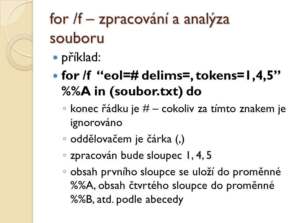 for /f – zpracování a analýza souboru